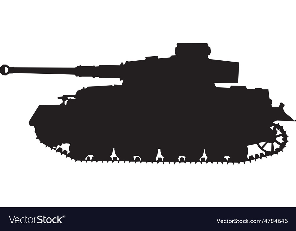 Tiger german silhouette tank of world war 2 vector