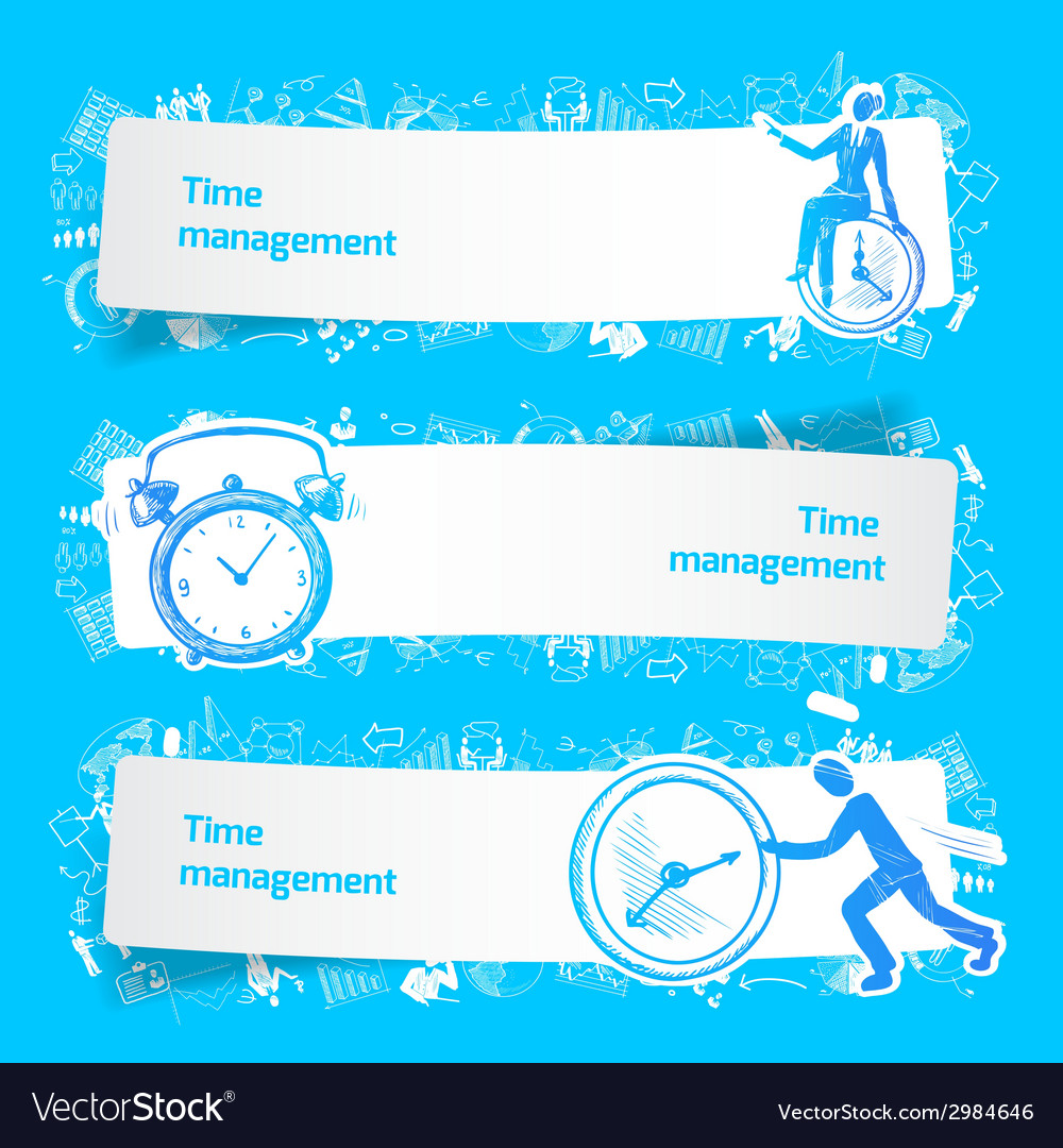 Time management set banners sketch vector | Price: 1 Credit (USD $1)