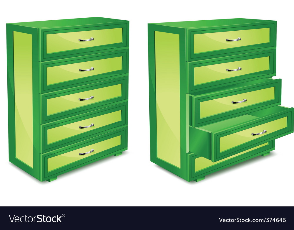Wooden commode in green vector | Price: 1 Credit (USD $1)