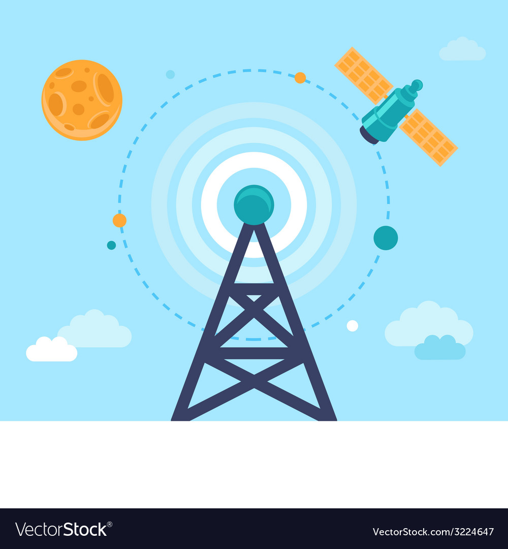 Antenna tower and satellite vector | Price: 1 Credit (USD $1)