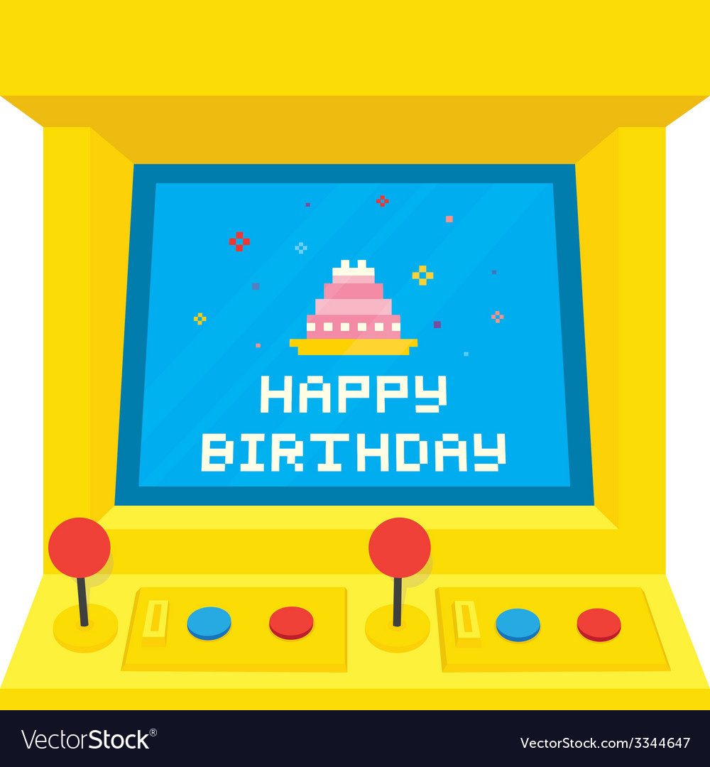 Arcade machine cake birthday vector | Price: 1 Credit (USD $1)