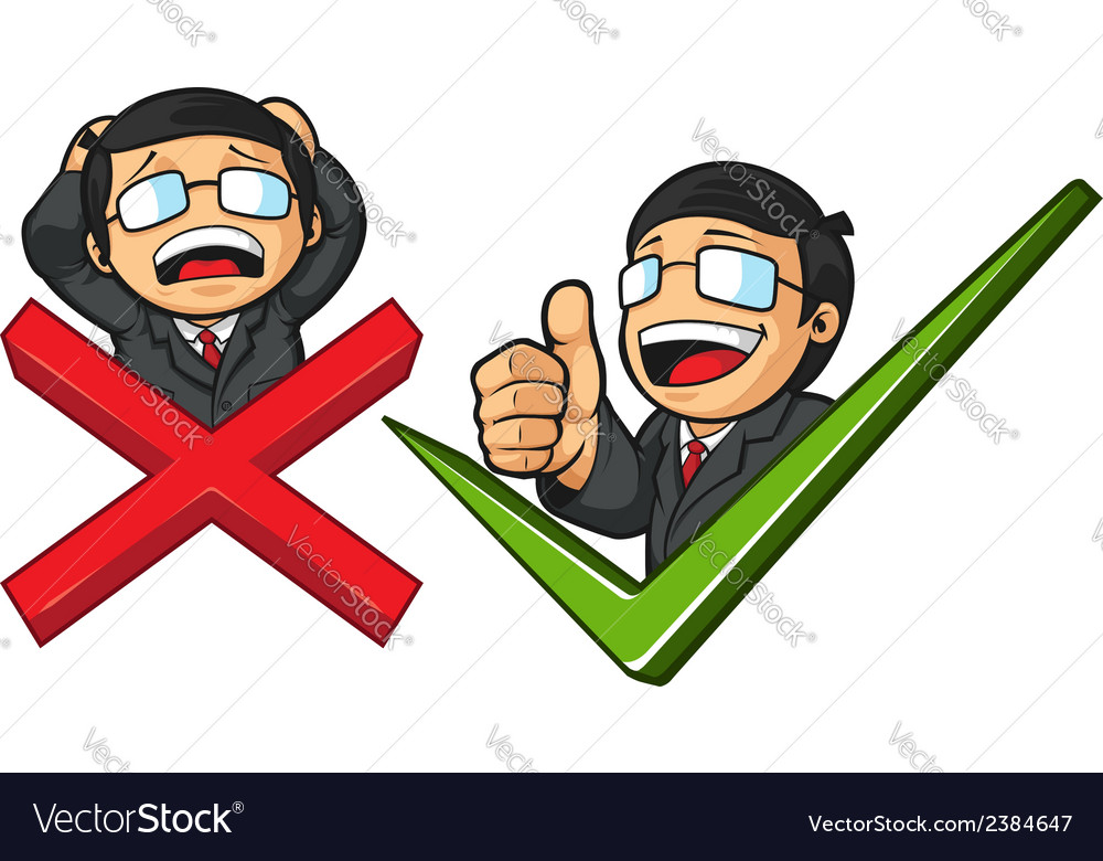 Businessman with check mark thumb up or cross vector | Price: 1 Credit (USD $1)