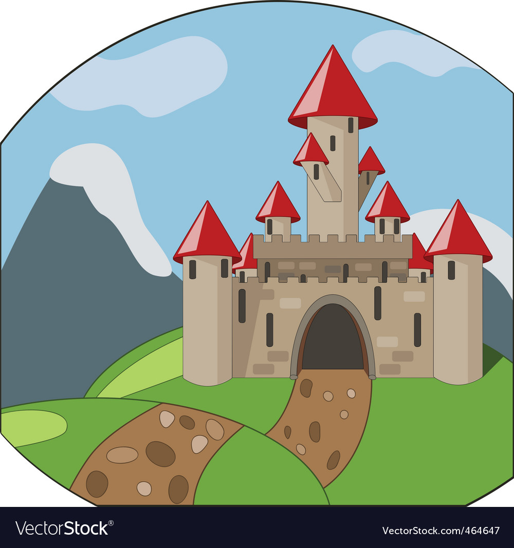 Cartoon castleon background with mountains vector | Price: 1 Credit (USD $1)
