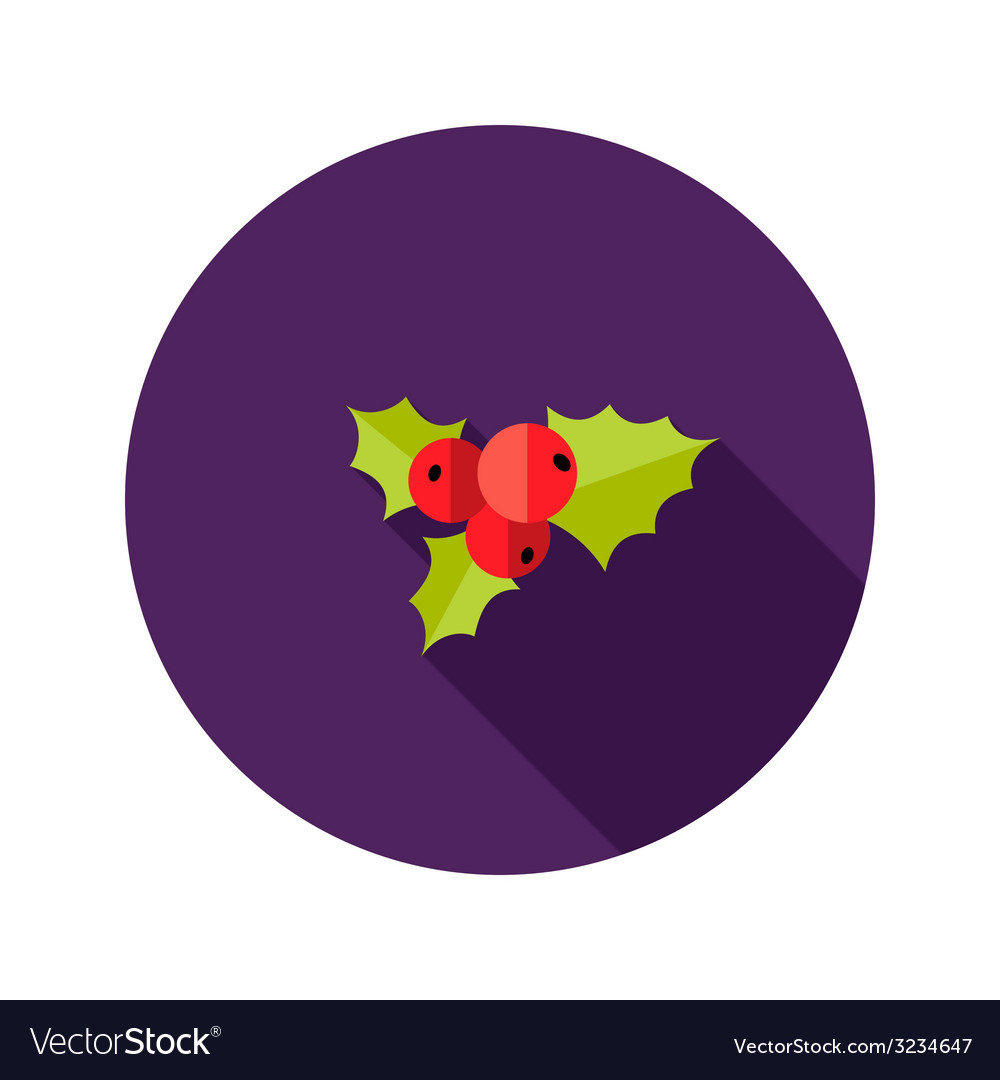 Christmas rowanberry flat icon vector | Price: 1 Credit (USD $1)