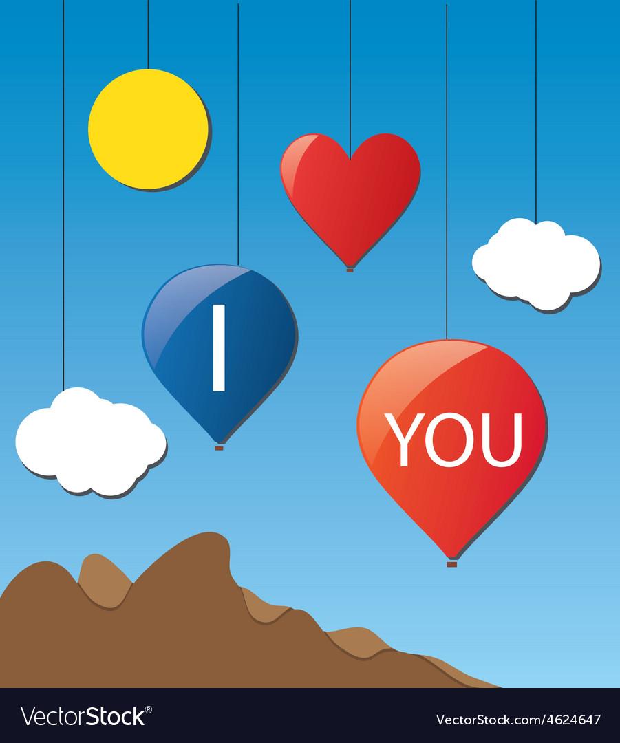 Cloud love baloon vector | Price: 1 Credit (USD $1)