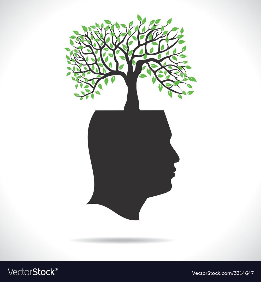 Green tree on head human head vector | Price: 1 Credit (USD $1)