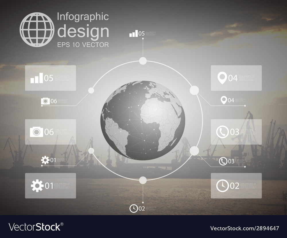 Infographic with unfocused background and icons vector | Price: 1 Credit (USD $1)