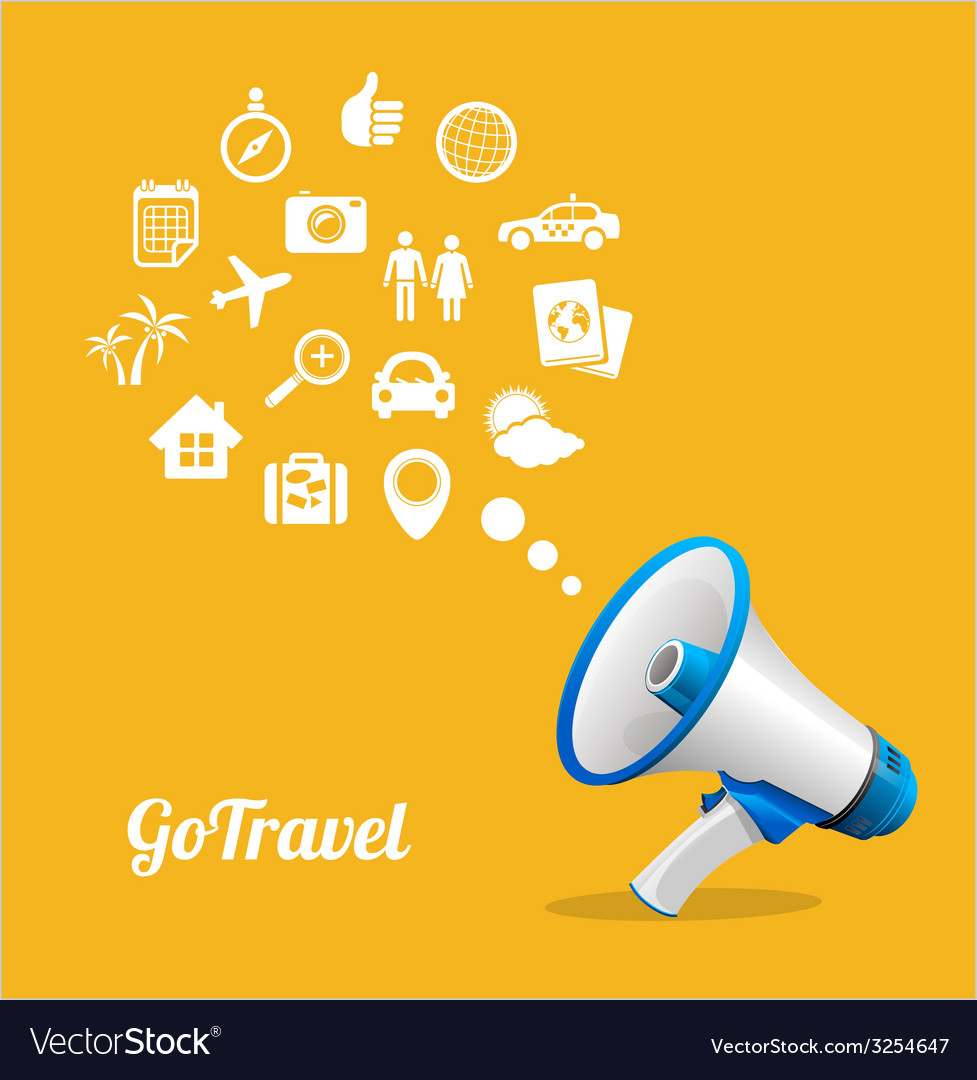 Megaphone and icon travel concept vector | Price: 1 Credit (USD $1)