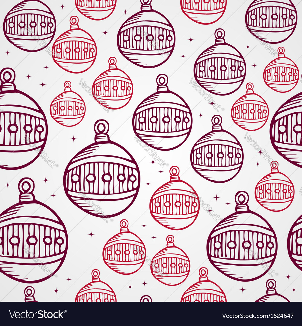 Merry christmas bauble seamless pattern background vector | Price: 1 Credit (USD $1)