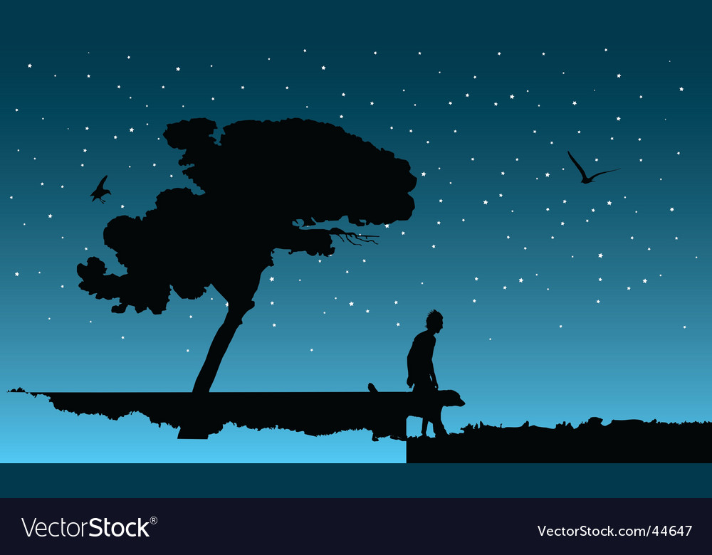 Night walk vector | Price: 1 Credit (USD $1)