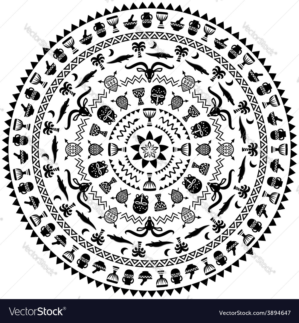 Round ornament with animals vases drums vector | Price: 1 Credit (USD $1)