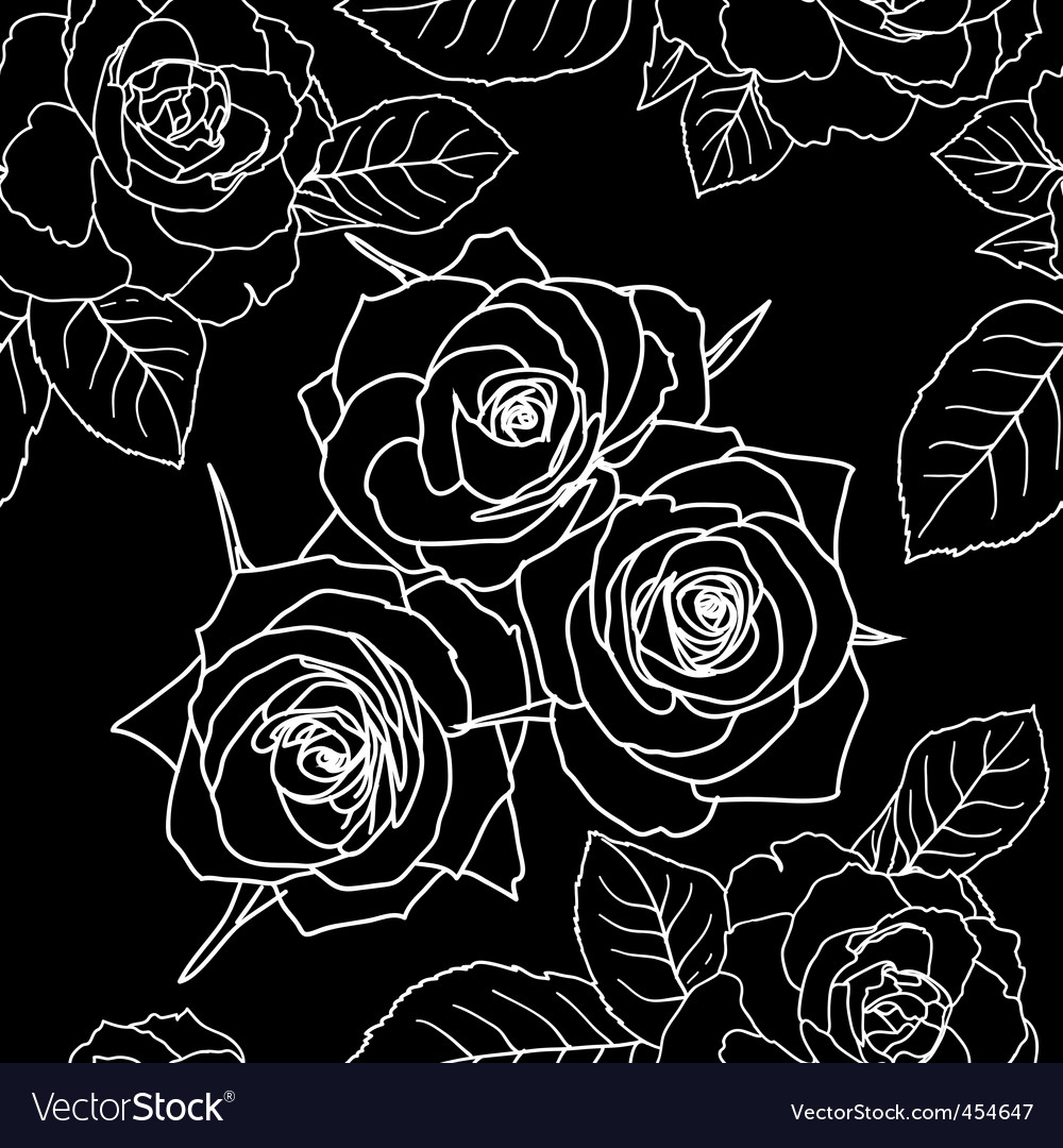 Seamless wallpaper with rose flowers vector | Price: 1 Credit (USD $1)
