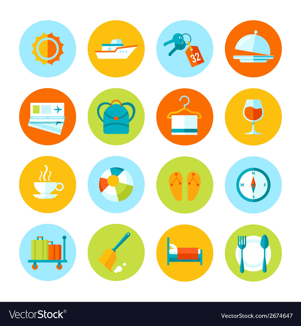 Set of flat travel and tourism icons vector | Price: 1 Credit (USD $1)