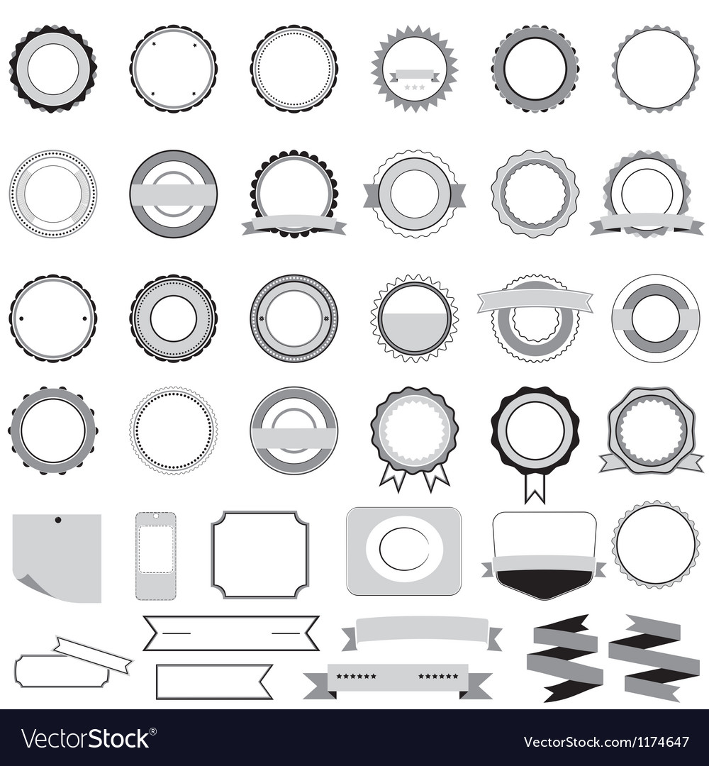 Set of sale badges labels and stickers in gray vector | Price: 1 Credit (USD $1)