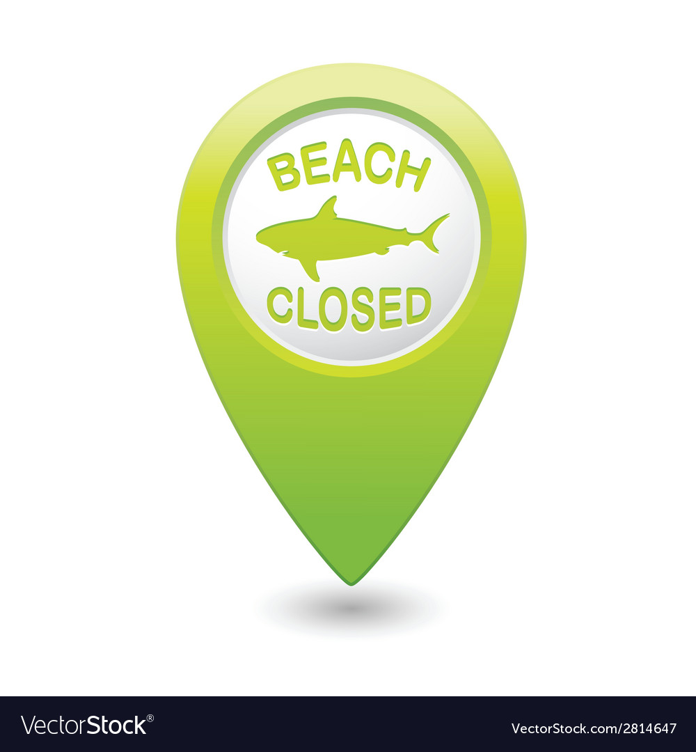 Shark sighting sign on green map pointer vector | Price: 1 Credit (USD $1)