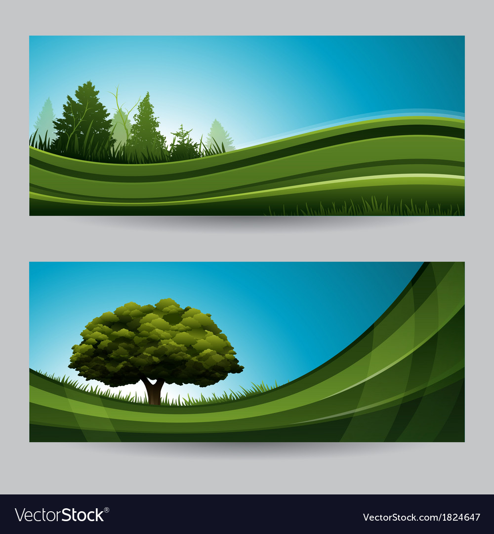 Spring background nature banner with tree vector | Price: 1 Credit (USD $1)