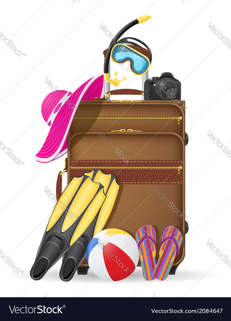 Suitcase with beach accessories vector | Price: 1 Credit (USD $1)