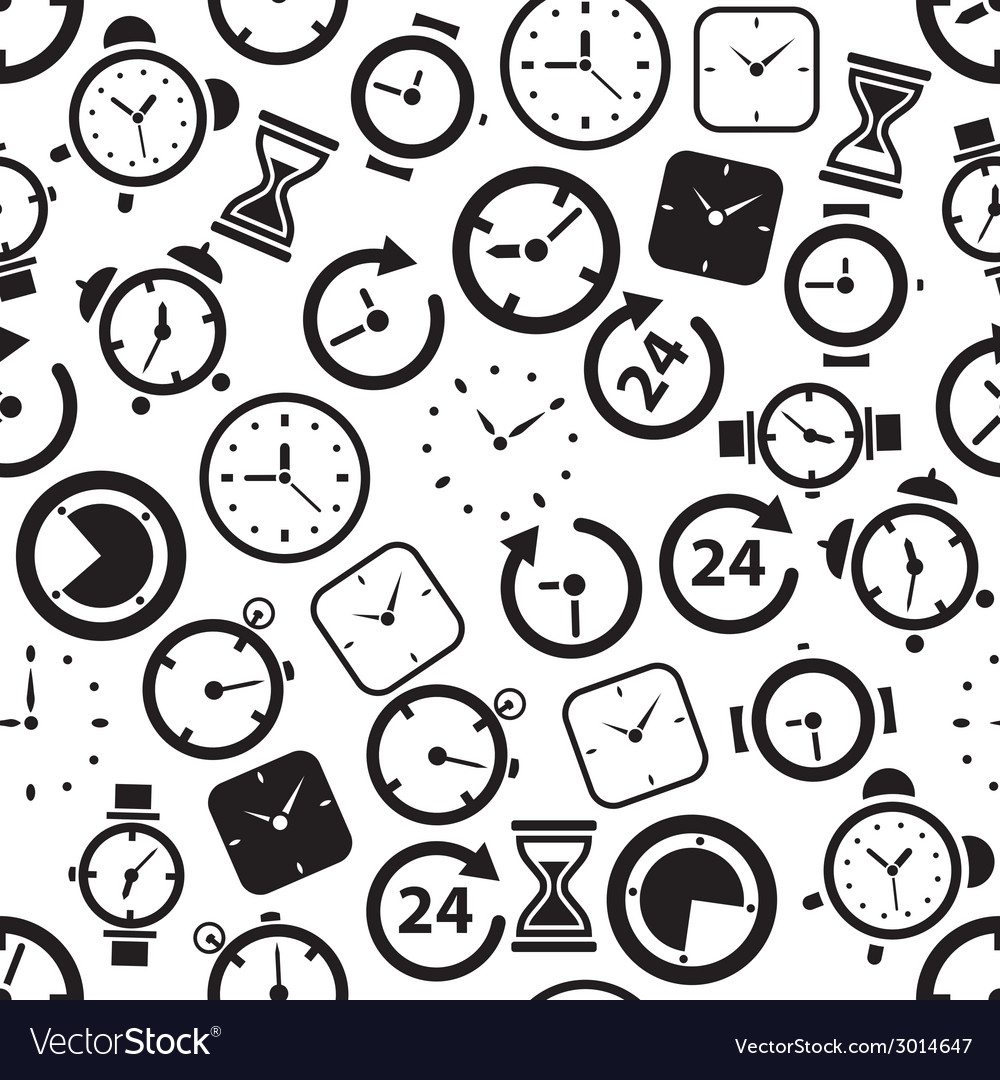 Time seamless pattern vector | Price: 1 Credit (USD $1)
