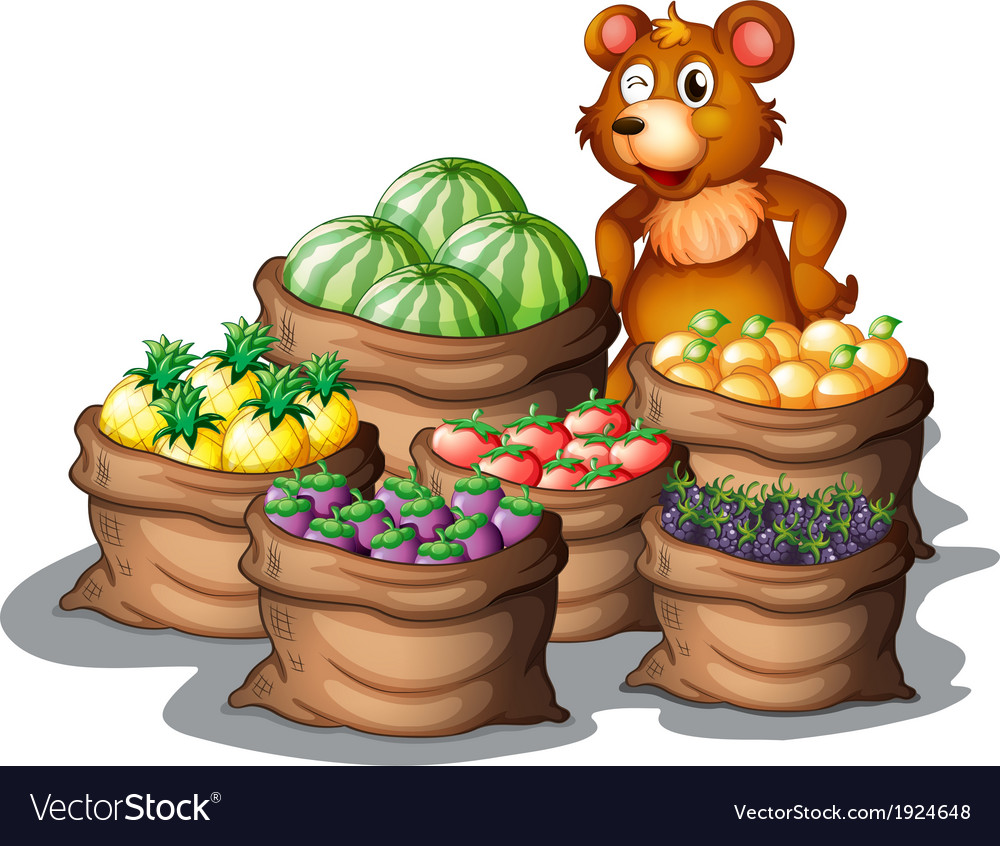 A bear with the newly harvested fruits vector | Price: 3 Credit (USD $3)