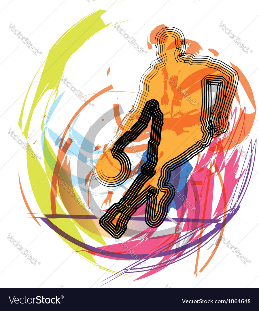 Basketball player in action vector | Price: 1 Credit (USD $1)