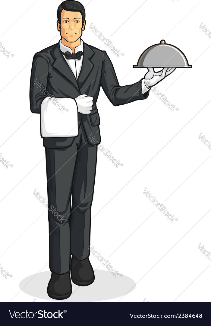 Butler or waiter serving tray of food vector | Price: 1 Credit (USD $1)