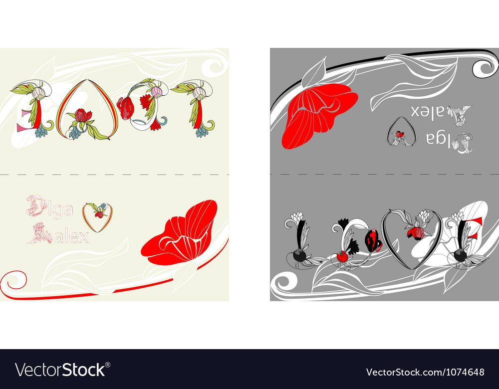 Card with inscription love vector