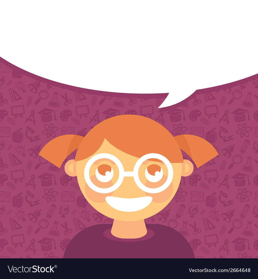 Cartoon girl in glasses with speech bubble vector | Price: 1 Credit (USD $1)