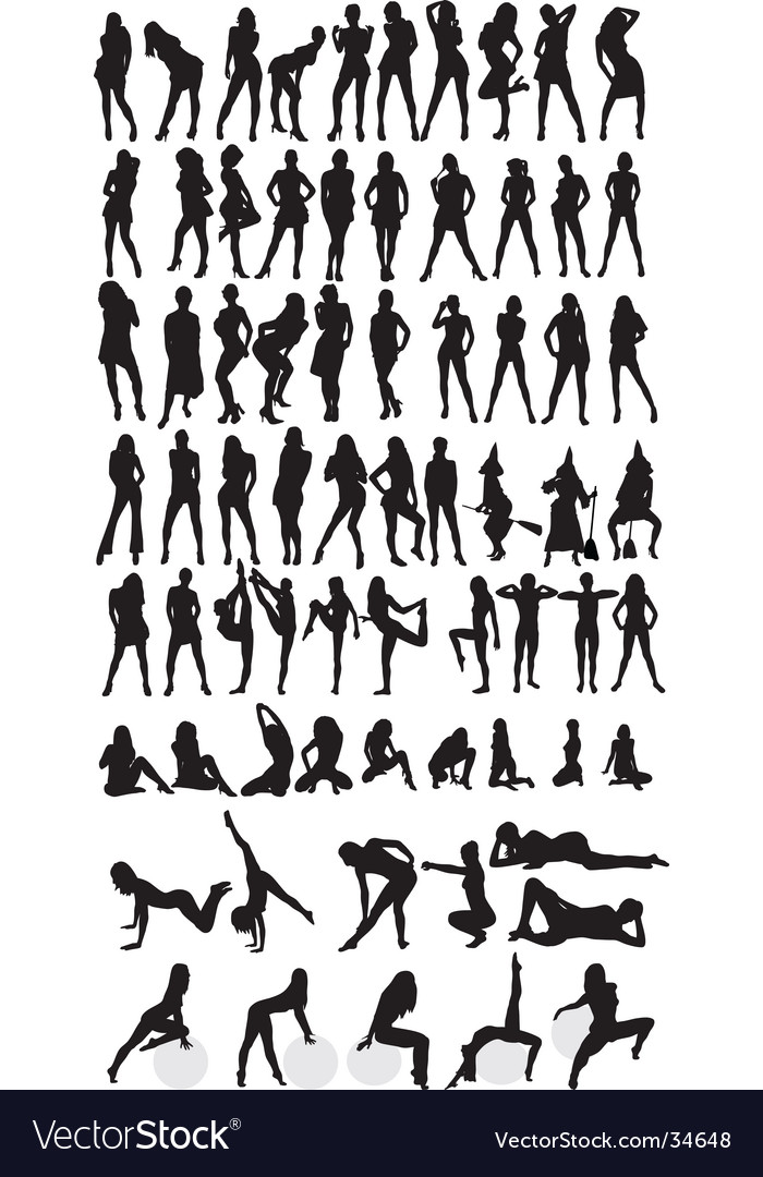 Female silhouettes vector