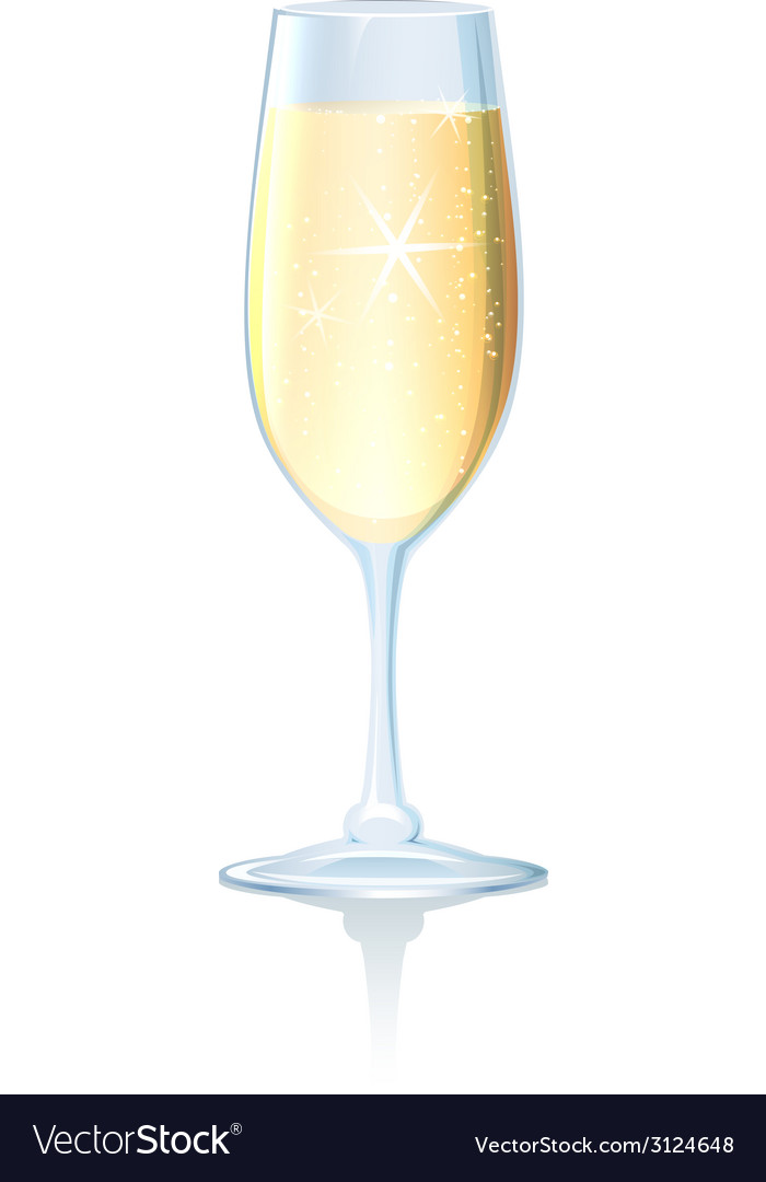 Flute of sparkling chilled champagne vector | Price: 1 Credit (USD $1)