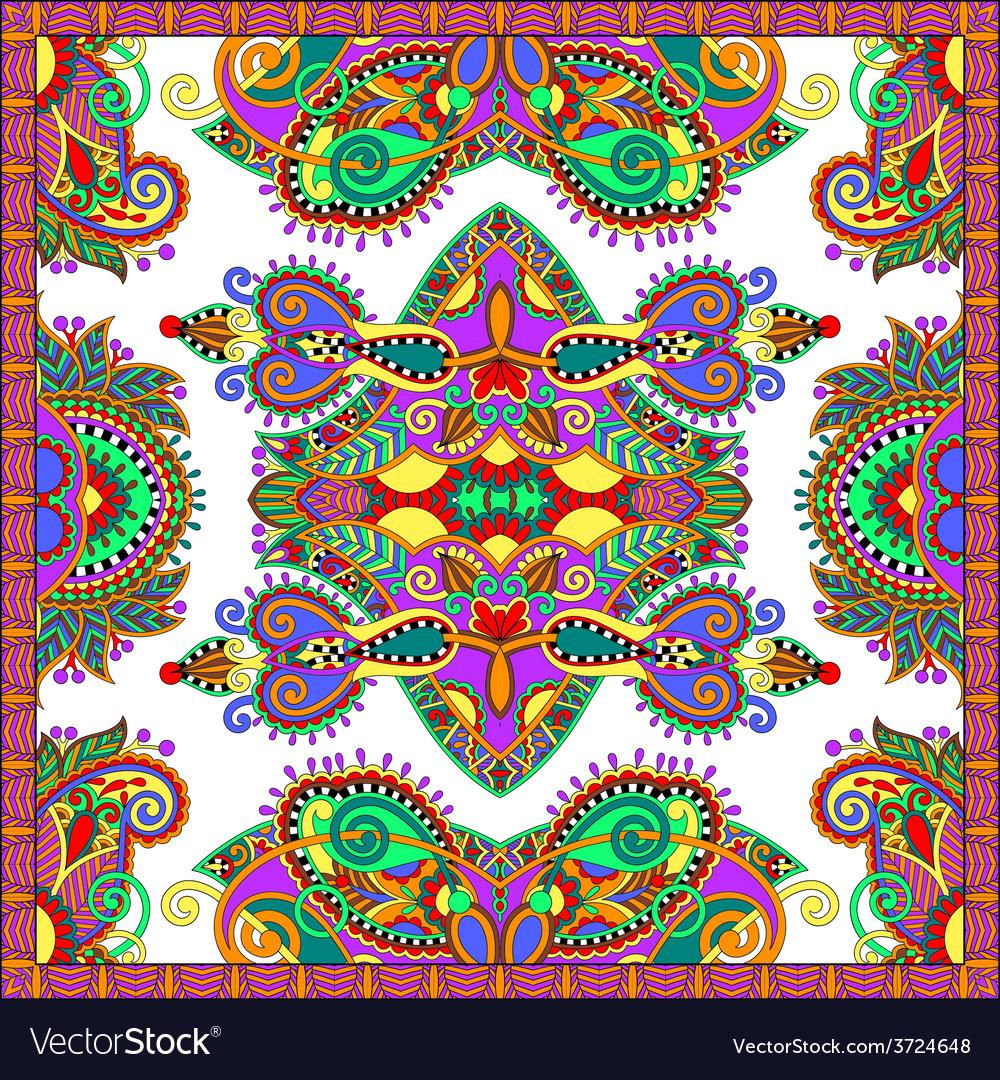 Ornamental floral paisley bandanna square vector | Price: 1 Credit (USD $1)