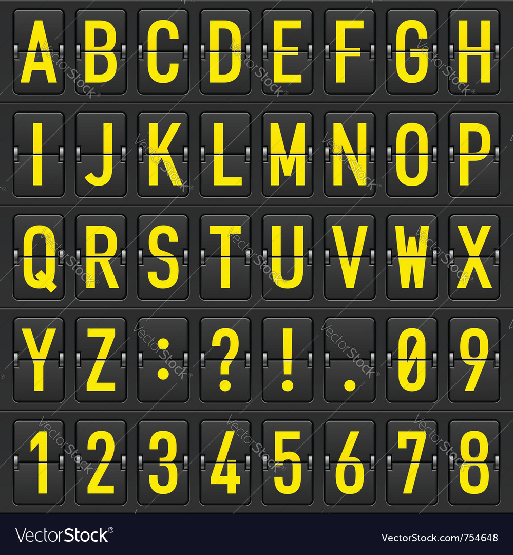 Set of letters on a mechanical timetable vector | Price: 3 Credit (USD $3)