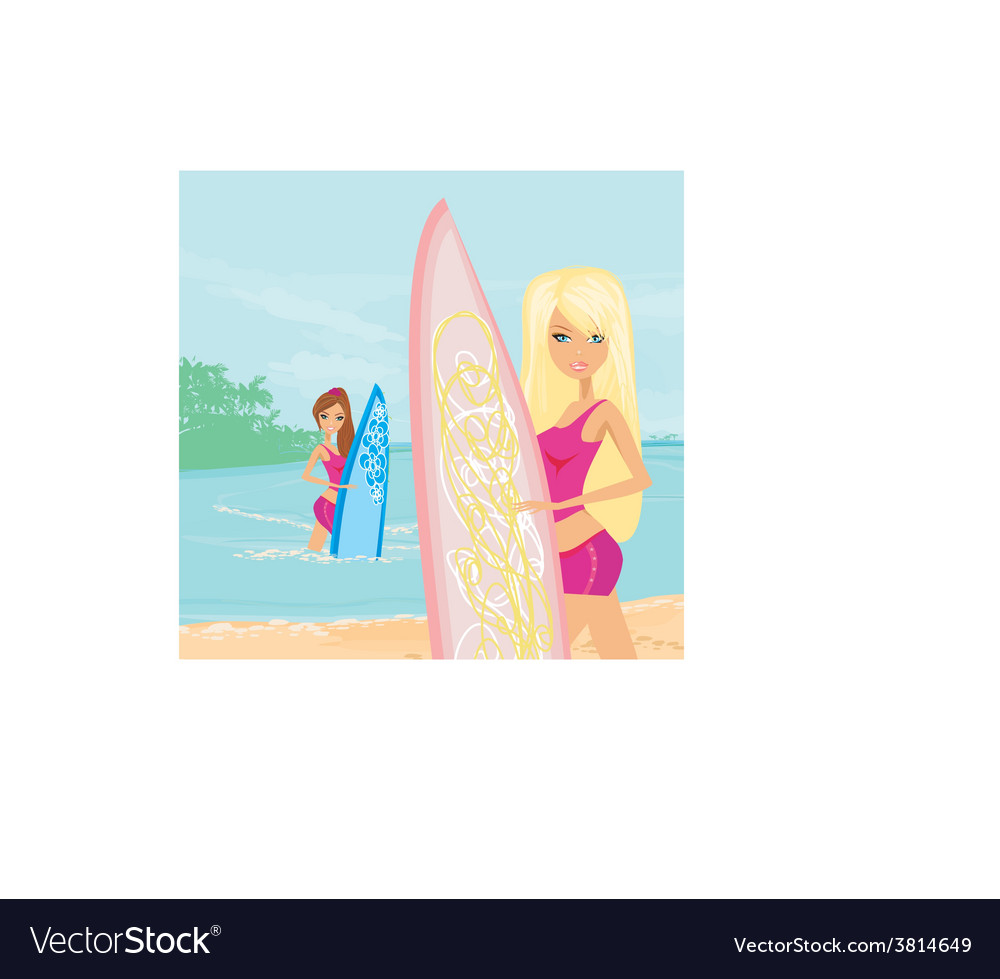 Beautiful girls with surfboards at a beach vector | Price: 1 Credit (USD $1)