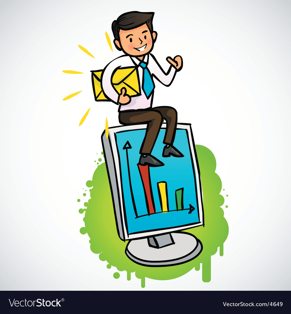 Businessman siting on the computer vector | Price: 3 Credit (USD $3)