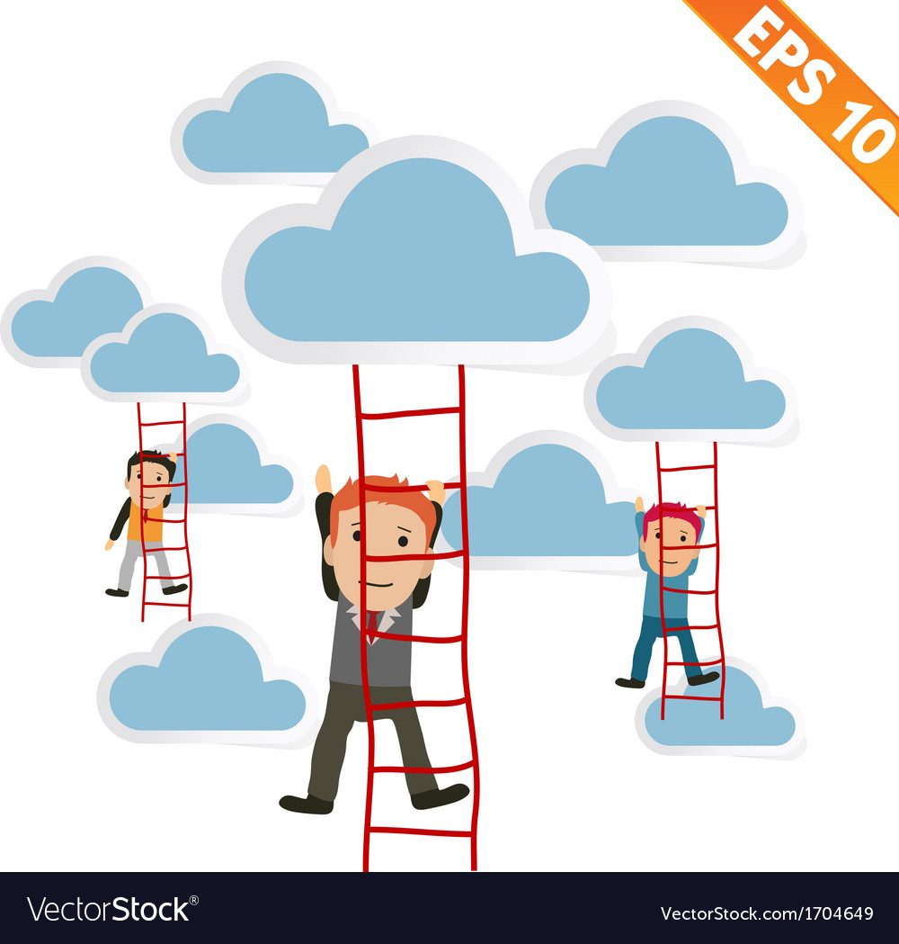 Cartoon businessman climbing ladder - - eps1 vector | Price: 1 Credit (USD $1)