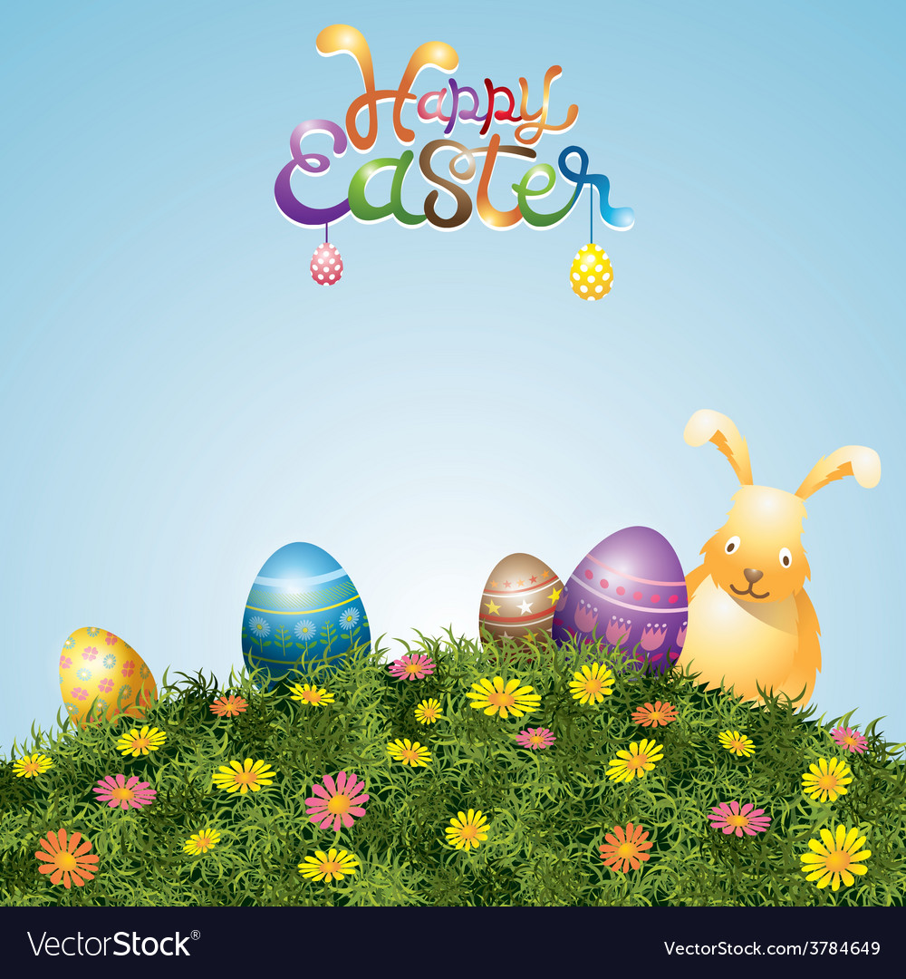 Easter eggs and bunny on green grass hill vector | Price: 3 Credit (USD $3)