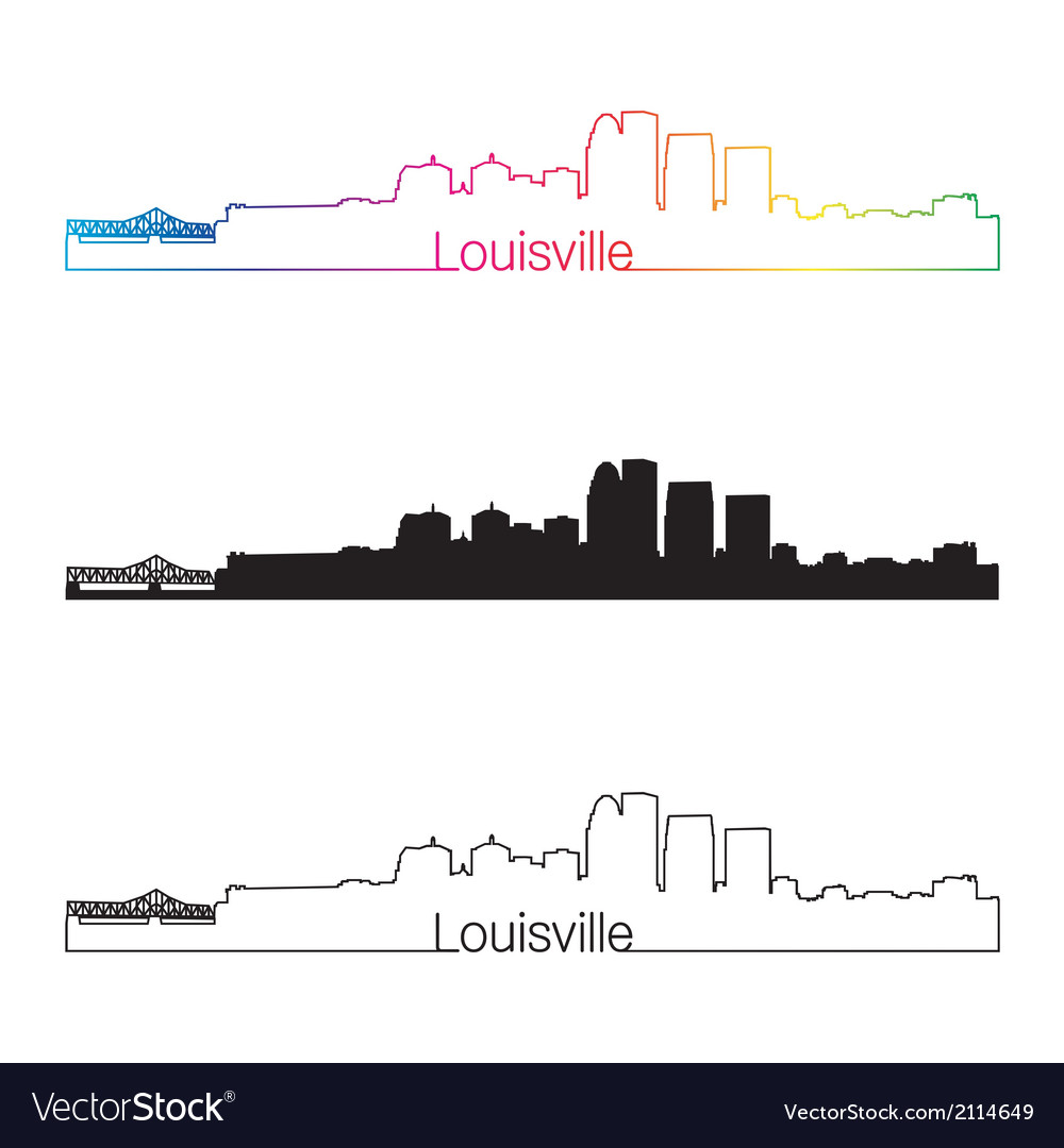 Louisville skyline linear style with rainbow vector | Price: 1 Credit (USD $1)