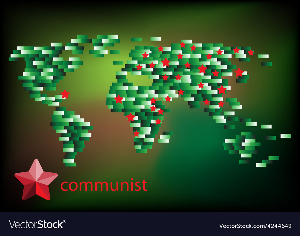 Red star communist on the map vector | Price: 1 Credit (USD $1)