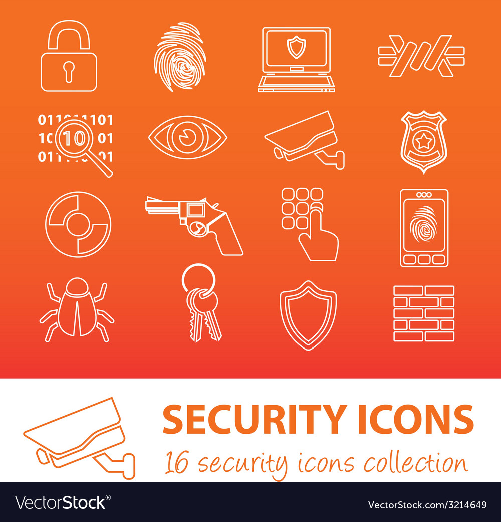Security outline icons vector | Price: 1 Credit (USD $1)