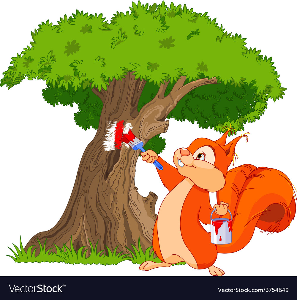 Squirrel painter vector | Price: 3 Credit (USD $3)
