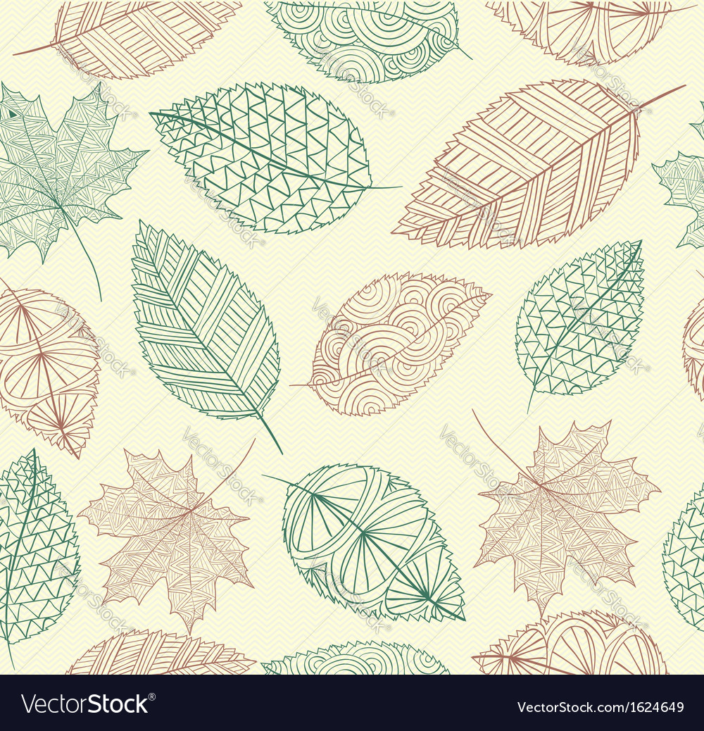 Vintage drawing fall leaves seamless pattern vector | Price: 1 Credit (USD $1)