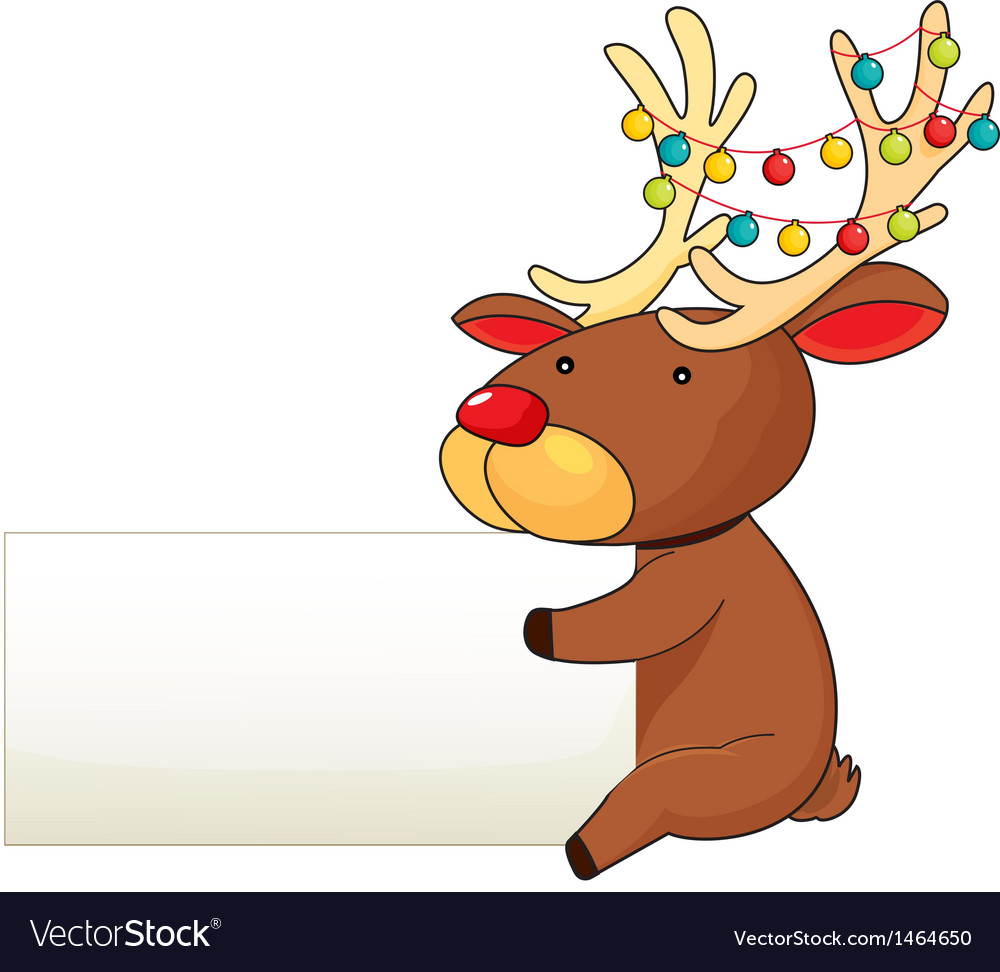 A deer holding an empty signboard vector | Price: 1 Credit (USD $1)