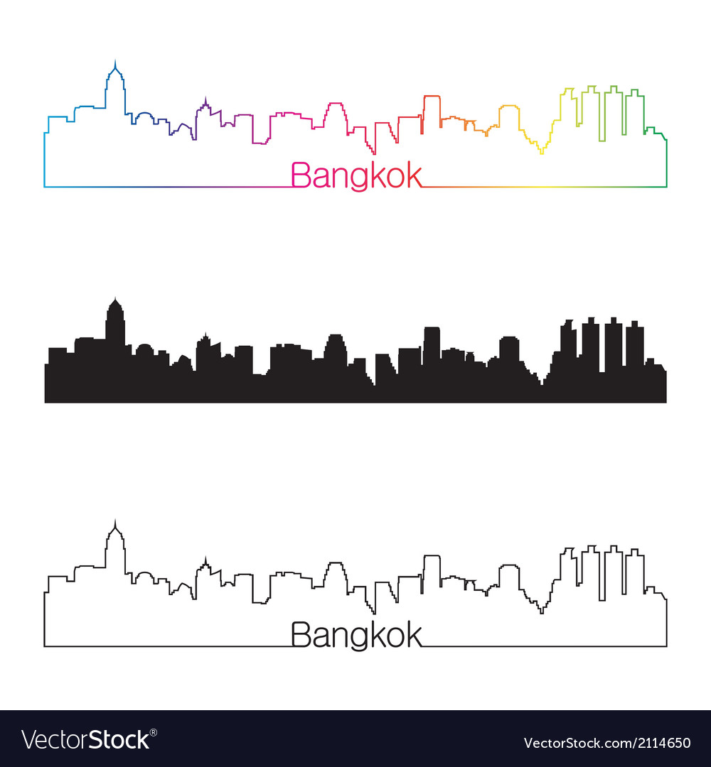 Bangkok skyline linear style with rainbow vector | Price: 1 Credit (USD $1)