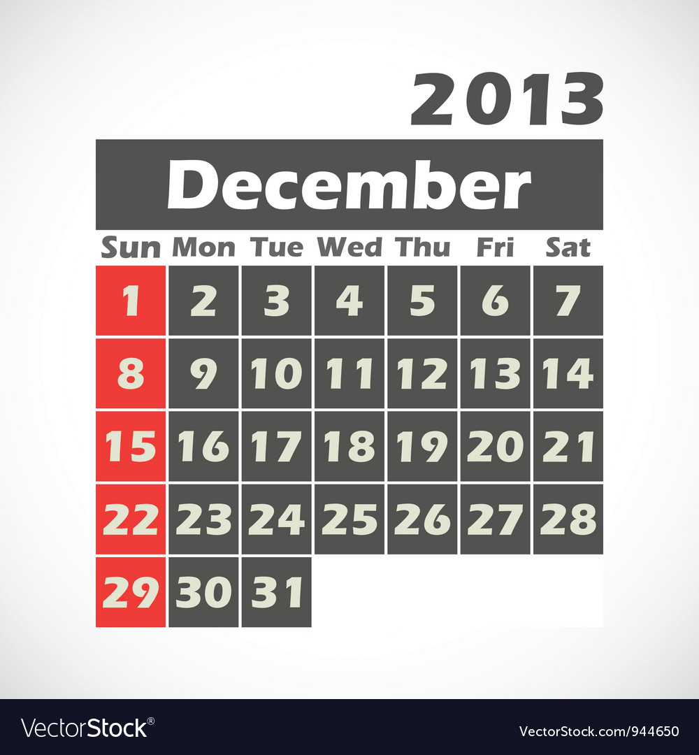 Calendar 2013 december vector | Price: 1 Credit (USD $1)