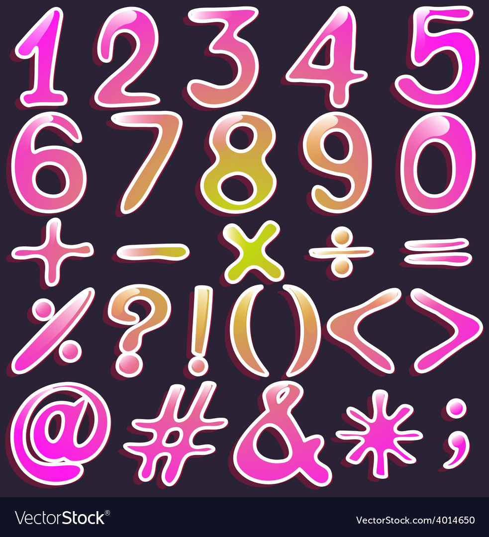 Colourful numbers and symbols vector | Price: 1 Credit (USD $1)