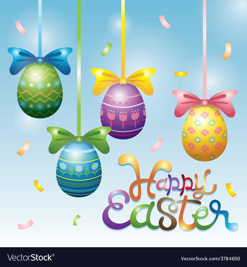 Easter eggs hanging decorate vector | Price: 3 Credit (USD $3)