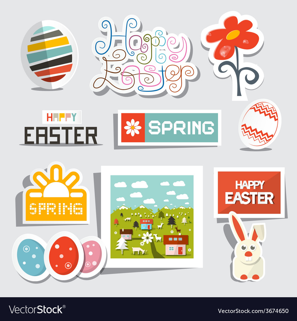 Easter isolated symbols - objects set vector | Price: 1 Credit (USD $1)