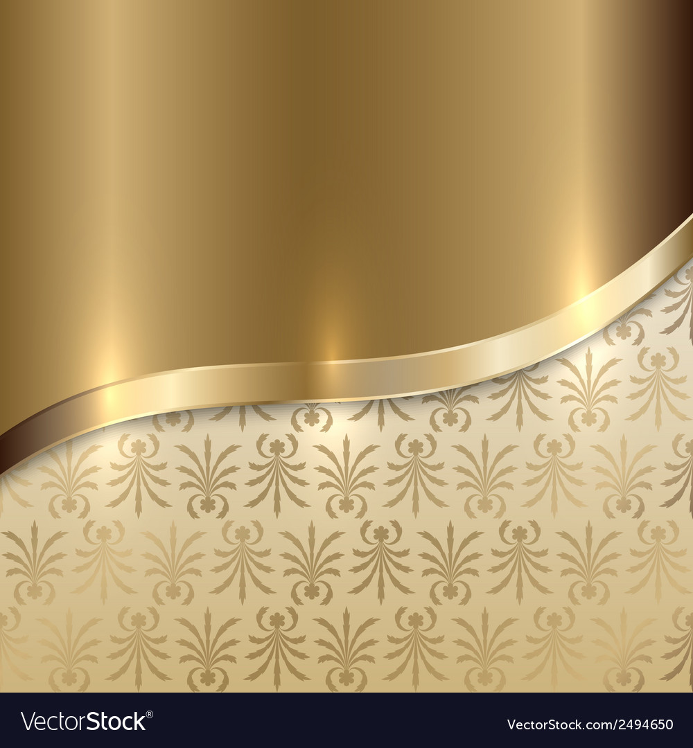Gold texture background with curve line and floral vector | Price: 1 Credit (USD $1)