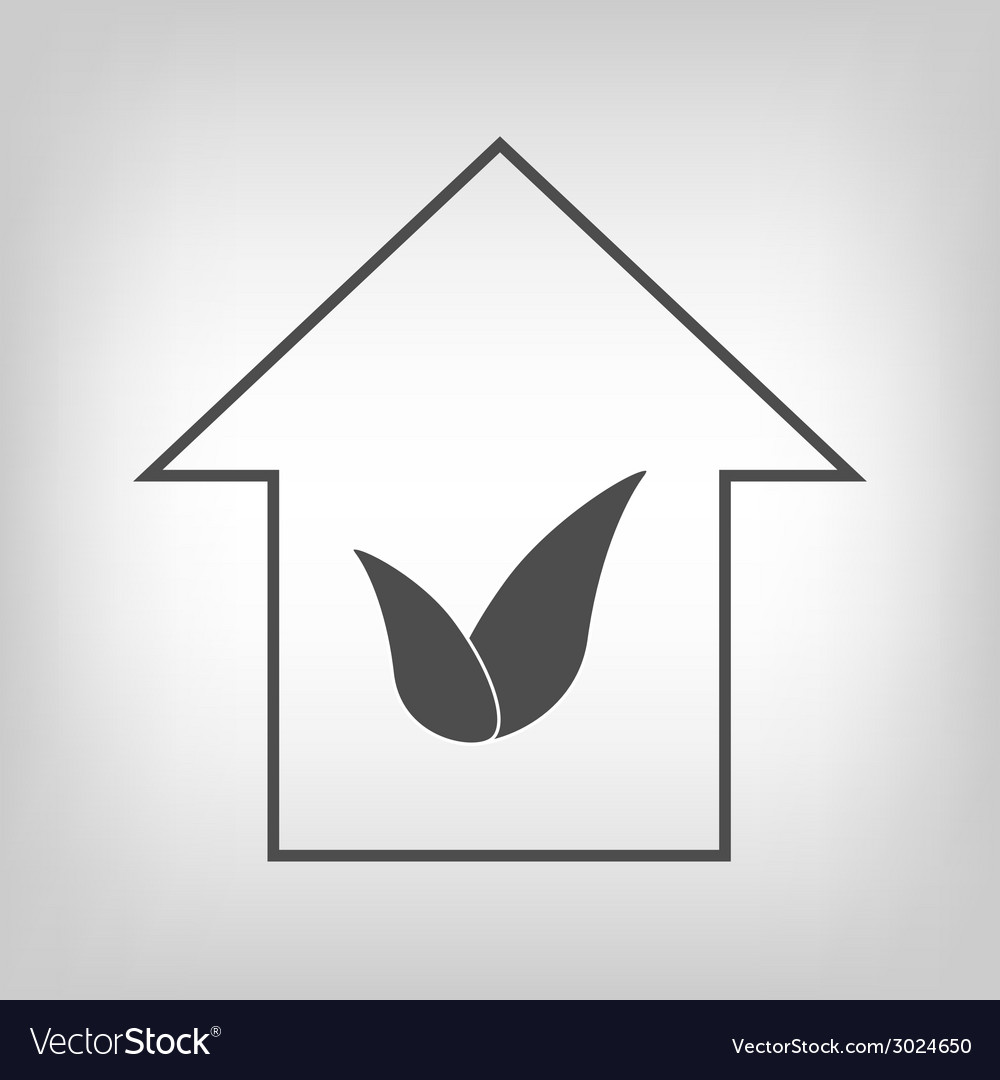 House with leaves vector | Price: 1 Credit (USD $1)