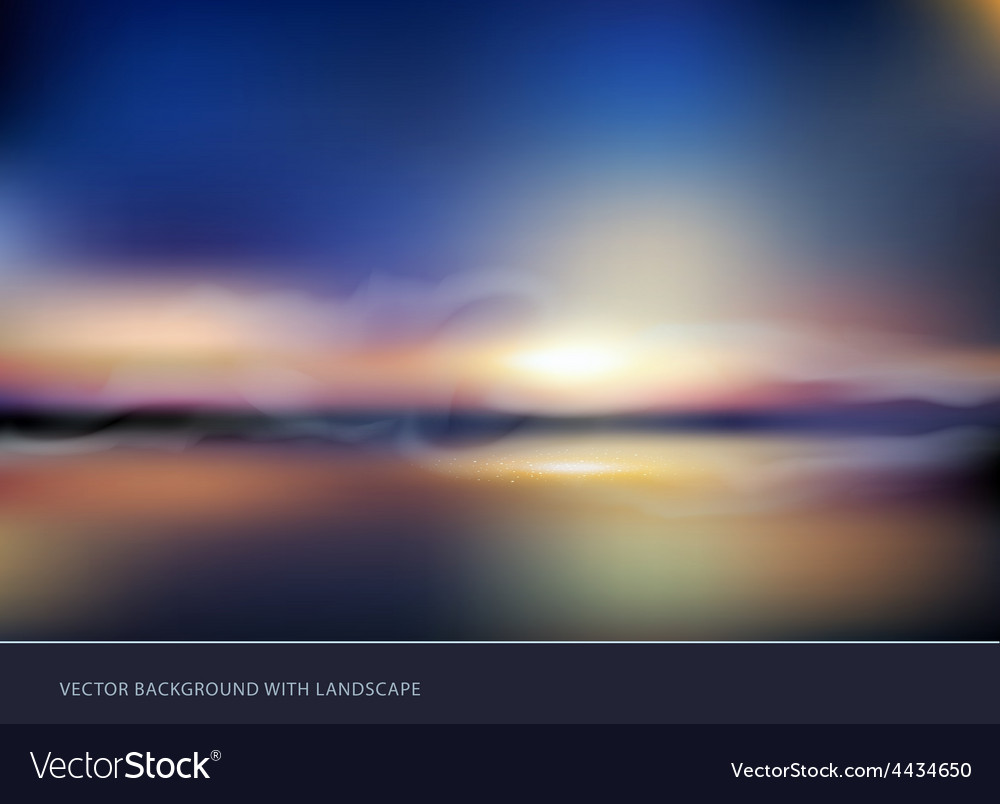 Seascape with sunset vector | Price: 1 Credit (USD $1)