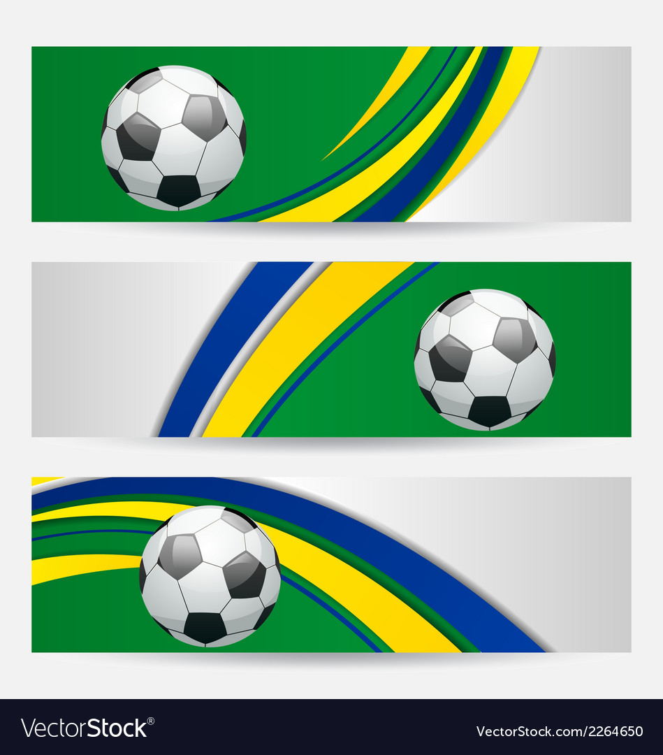 Set football cards in brazil flag colors vector | Price: 1 Credit (USD $1)